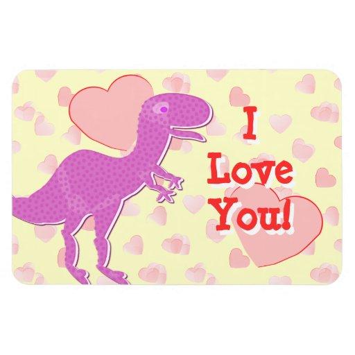 Te amo dinosaurio lindo de T-Rex con los corazones Imán Flexible