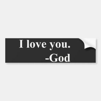 Te amo. Dios Etiqueta De Parachoque