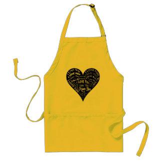 Te amo diseño del corazón para los bodas y los día delantal
