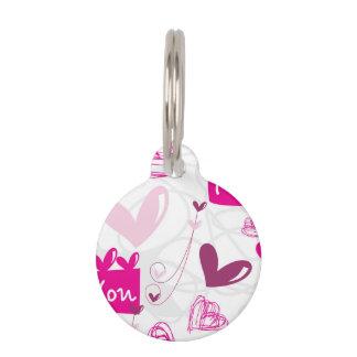 Te amo diseño rosado de los corazones placa de mascota