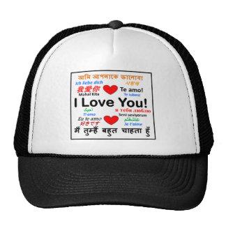 Te amo - diversas idiomas - heart png gorras