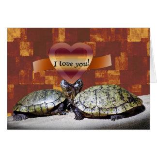 Te amo, dos tortugas forman un corazón tarjeta de felicitación
