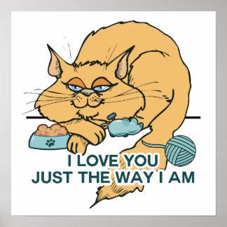 Te amo el decir gráfico del gato divertido poster