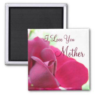 Te amo el día de madre color de rosa rosado suave imán cuadrado