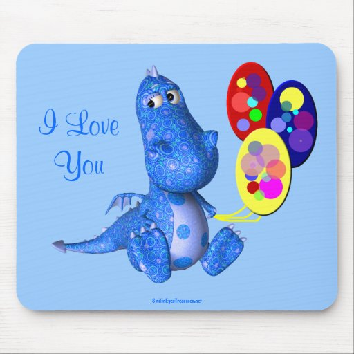 Te amo el dragón azul hincha Mousepad