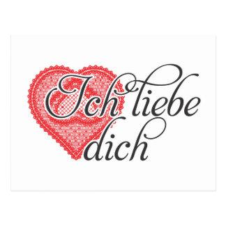 Te amo en alemán postal