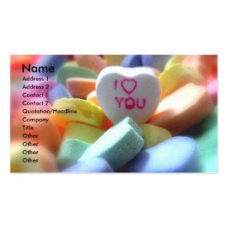 Te amo, en caramelo del corazón tarjetas de visita