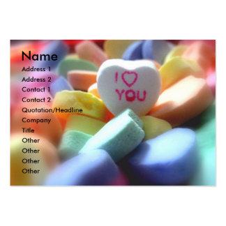 Te amo, en caramelo del corazón tarjetas de visita grandes