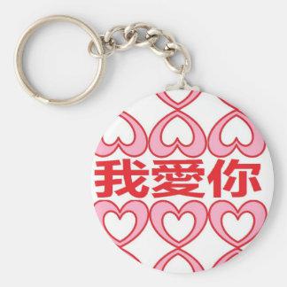 Te amo en chino llavero redondo tipo pin