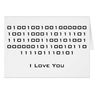"""""""Te amo"""" en código binario Tarjeta"""