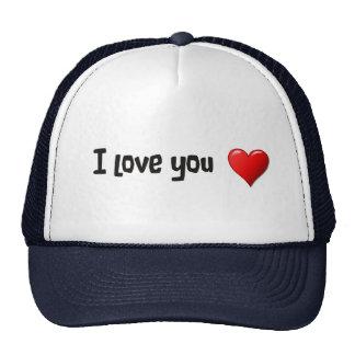 Te amo en inglés gorras