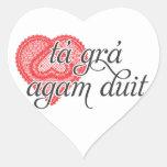 Te amo en irlandés - duit del agam del grá del tá colcomanias corazon personalizadas
