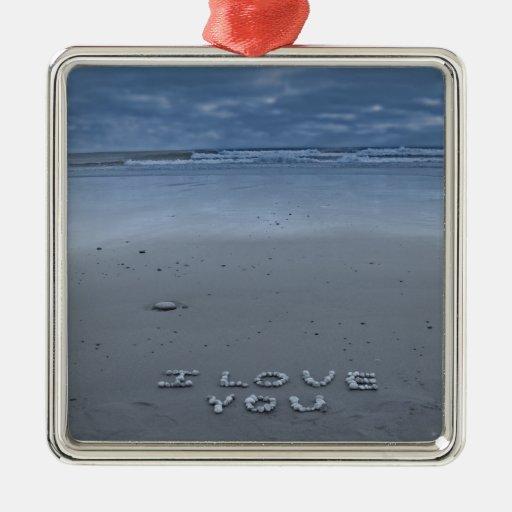 Te amo en la playa adorno de navidad