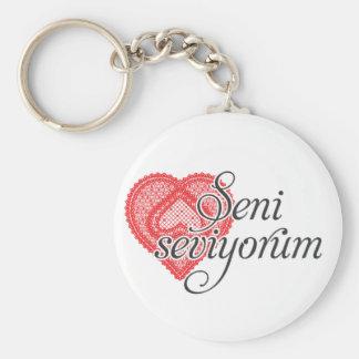 Te amo en turco - seviyorum de Seni Llavero Redondo Tipo Pin