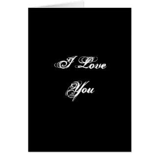 Te amo. En una fuente de la escritura. Blanco y ne Tarjeton