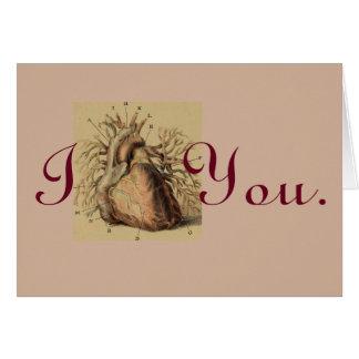 Te amo espacio en blanco anatómico del corazón del tarjeta de felicitación