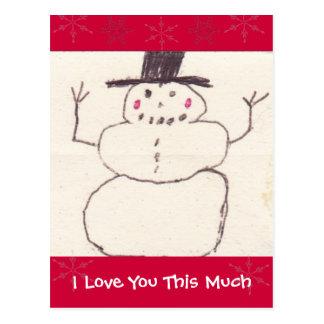 Te amo esta mucha postal del muñeco de nieve