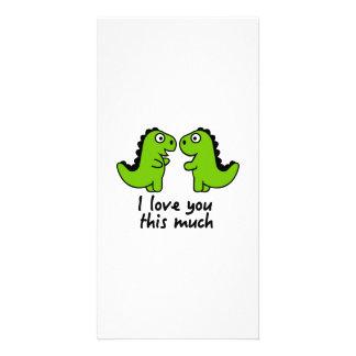 Te amo este mucho dinosaurio tarjetas fotográficas personalizadas