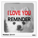 Te amo etiqueta de la pared de Pomeranian del Vinilo Decorativo