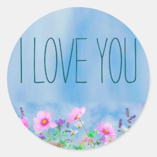 Te amo floral y cielo pegatina redonda