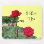 Te amo foto Mousepad de la flor de los rosas rojos Alfombrilla De Ratón