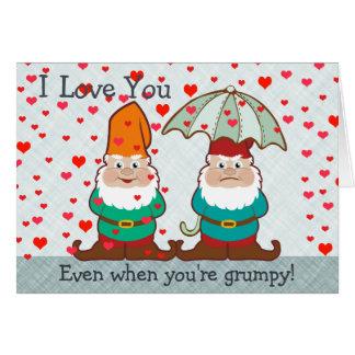 Te amo gnomo gruñón tarjeta de felicitación