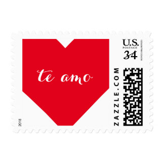 Te amo I Love You in Spanish Heart Postage Stamp