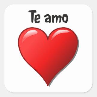 Te amo - I love you in Spanish Square Stickers