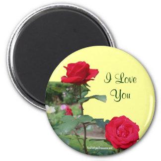 Te amo imán de la foto de la flor de los rosas roj