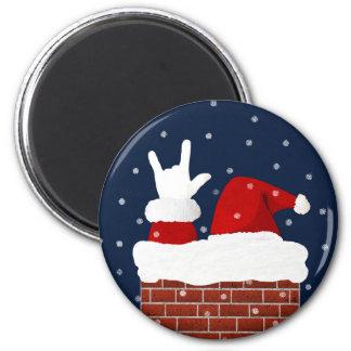 Te amo imán del navidad de Handshape ASL Santa