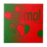 ¡Te Amo! La bandera de Portugal colorea arte pop Tejas Cerámicas