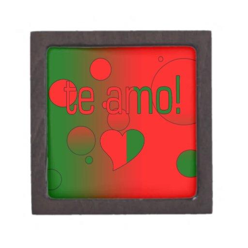 ¡Te Amo! La bandera de Portugal colorea arte pop Caja De Joyas De Calidad