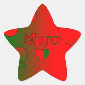 ¡Te Amo! La bandera de Portugal colorea arte pop Pegatina En Forma De Estrella