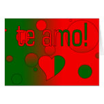 ¡Te Amo! La bandera de Portugal colorea arte pop Tarjetón