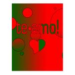 ¡Te Amo! La bandera de Portugal colorea arte pop Tarjetas Postales