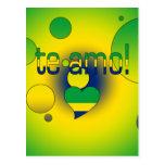 ¡Te Amo! La bandera del Brasil colorea arte pop Tarjetas Postales