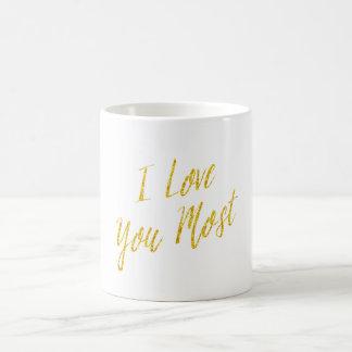 Te amo la mayoría brillo del oro de la cita del taza