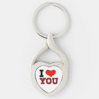 Te amo llavero de encargo del corazón llavero plateado en forma de corazón