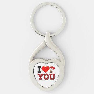 Te amo llavero llavero plateado en forma de corazón