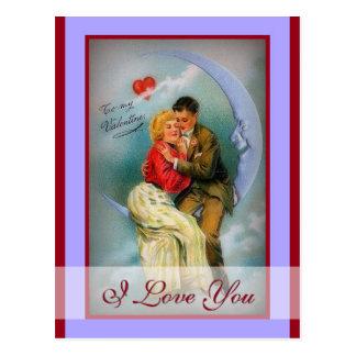 Te amo luna romántica de los pares de la tarjeta d tarjeta postal