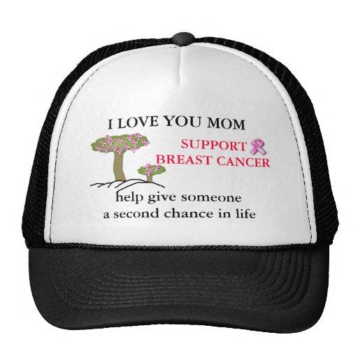 TE AMO MAMÁ, casquillo de la bola del cáncer de PE Gorros