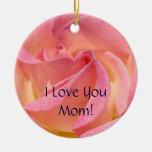 ¡Te amo mamá! Días de fiesta color de rosa rosados Adornos