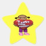 Te amo mamá pegatinas forma de estrellaes