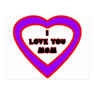Te amo MAMÁ Purple Heart el regalo de Zazzle del Postales