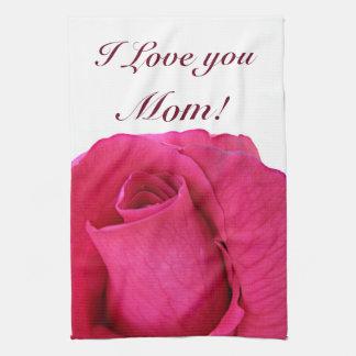 Te amo mamá subió rosada toallas de mano