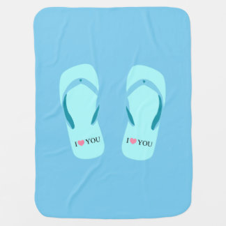 Te amo manta del bebé azul de los flips-flopes de mantitas para bebé