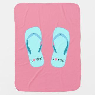 Te amo manta rosada del bebé de los flips-flopes mantas de bebé