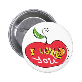 Te amo manzana con el botón del gusano