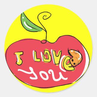 Te amo manzana con el pegatina del gusano