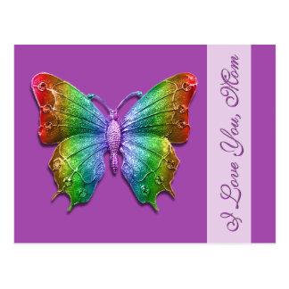 Te amo mariposa del arco iris de la mamá para el d postal